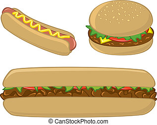 Fast Food Sandwiches and Hot Dog - Three common American...
