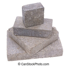 Tower of concrete constructrion blocks, isolated against...