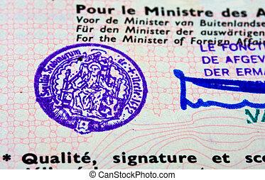 Old passport stamp in Belgian passport