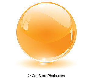 3D crystal, glass sphere, vector illustration