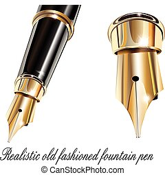 Fountain pen gold and black, realistic detailed vector...