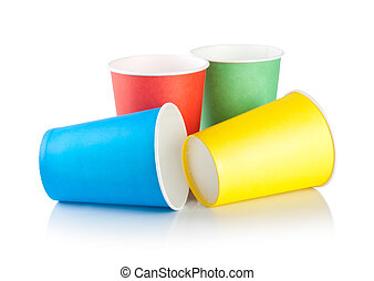 Disposable cups isolated on a white background