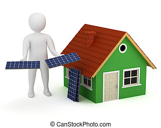 3d man with solar panels - 3d man offering solar panels for...