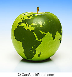 Green apple with earth map - Whole green apple with planet...
