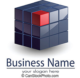 Logo 3d glossy cube, modern logo for your business.
