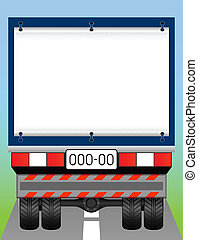 Freight transport. - Kind of a truck from behind. At the...
