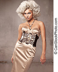 Fashion style photo of young blonde