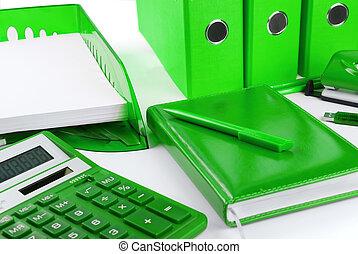 Green business still life - Green office stationery still...