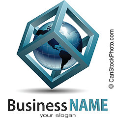 Business logo, earth globe inside cube, vector