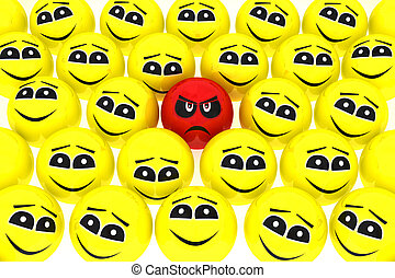 A unhappy smiley stands out from the crowd