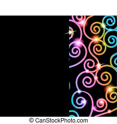 Colorful swirls card - Colorful swirls on a black background