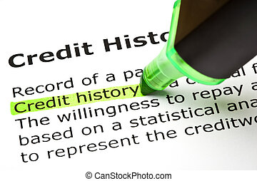 """Credit history"" highlighted in green, under the heading..."