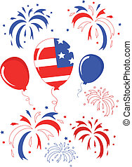 Independence day,balloons and firework.