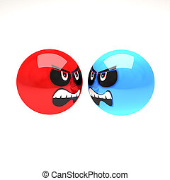 angry smiles - two angry smiles isolated with clipping path