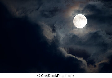 Full Moon - Night Sky - Full Moon and Dark Clouds