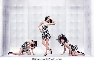 sobre, três,  glamour, posar, fundo, tipo, mulheres