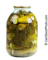 Jar of pickles isolated over white background