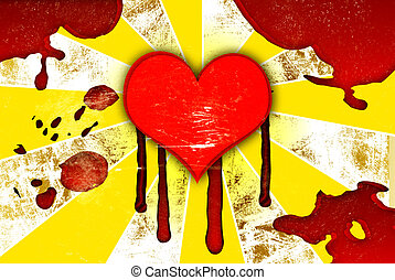 red hearts with drops of blood