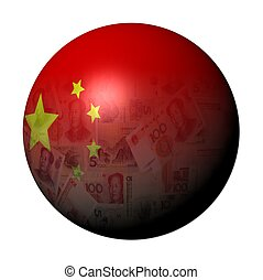 Chinese yuan flag sphere illustration - Chinese yuan flag...
