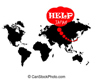 help japan on the world map