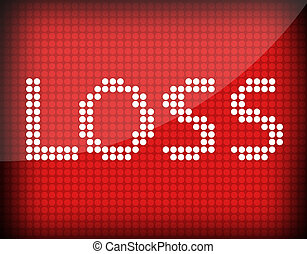 loss text on a red background