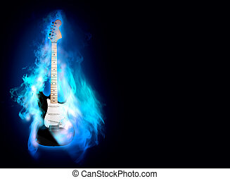 flime guitare - elictric guitare in blue flames on a black...