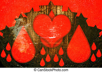 red hearts with drops