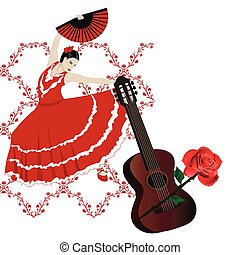 Flamenco - Illustration of a flamenco dancer with a spanish...