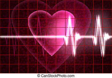 cardial heart beating - valentines day theme with cardial...