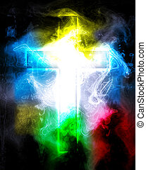 cross in color smoke