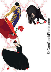 Flamenco and Bullfighting - Illustration with a matador and...