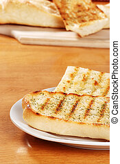 garlic bread on a plate