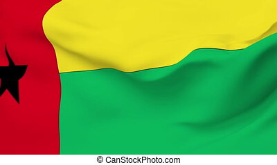 Flag of Guinea Bissau - Flag of the Guinea Bissau waving in...