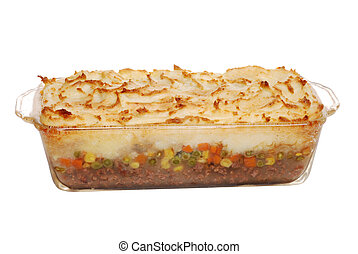 hot homemade shepards pie - isolated hot homemade shepards...