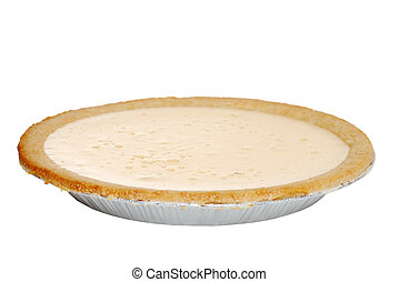 Isolated banana cream pie on white background