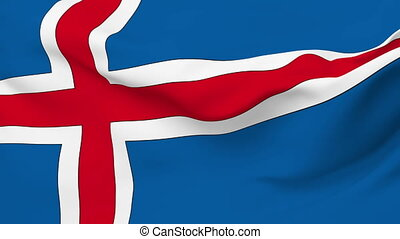 Flag of Iceland - Flag of the Iceland waving in the wind....