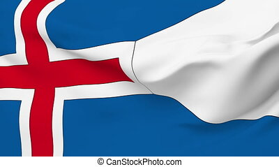 Flag of Iceland - Flag of the Iceland waving in the wind...