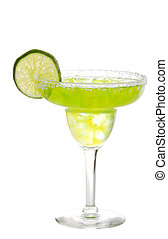 lime margarita with a slice of lime - isolated lime...