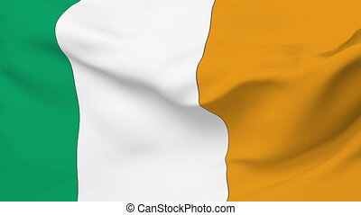 Flag of Ireland - Flag of the Ireland waving in the wind...