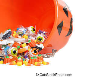 macro spilled halloween candy - isolated macro spilled...