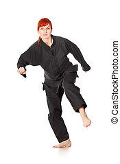 Wushu Woman Run - girl in black kimono bows, isolated on...