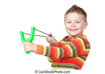 Adorable child with a slingshot isolated on white background