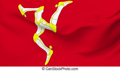 Flag of Isle of Man - Flag of the Isle of Man waving in the...