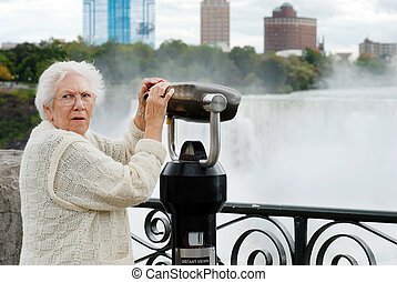 senior surprised at niagara falls