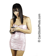 Party girl texting