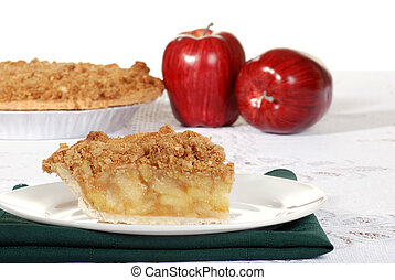 slice of apple crumble with fruit - closeup slice of apple...