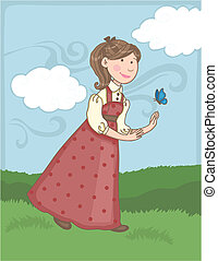 Prairie Girl - Vector illustration of a girl wandering on...