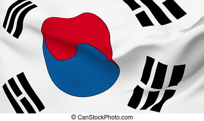 Flag of Korea, South - Flag of the Korea, South waving in...