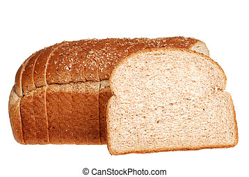 sliced stone milled bread - isolated sliced stone milled...
