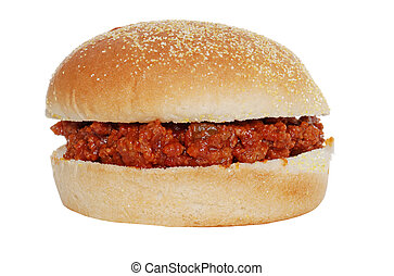sloppy joe in corn meal bun - isolated sloppy joe in corn...